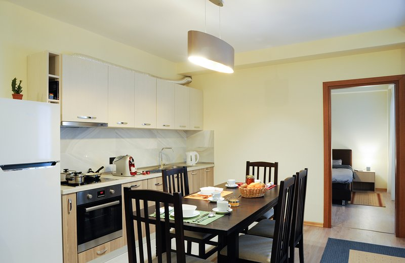 Kitchen, completed for 12 persons, coffee and tea for free.