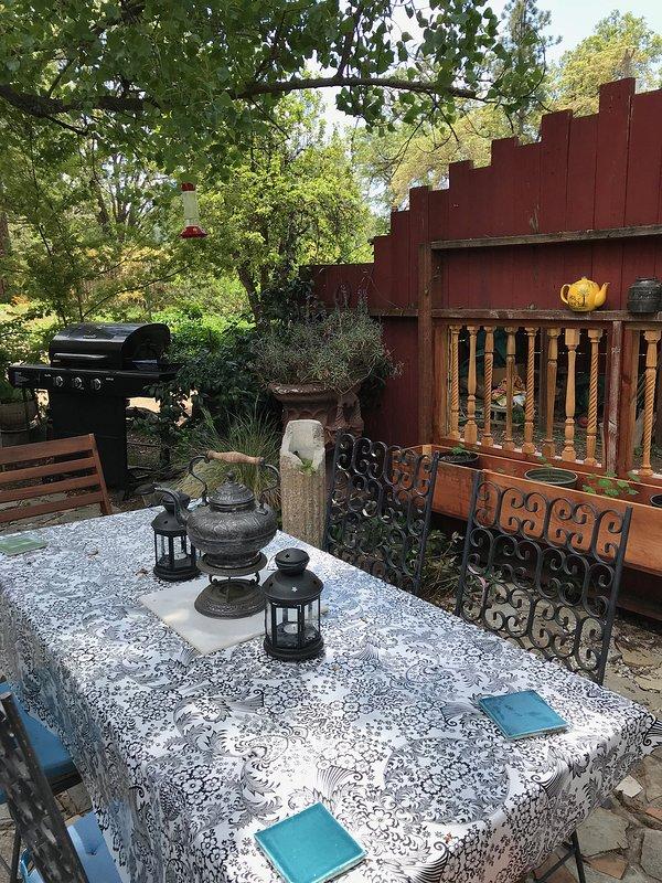 Barbacoa de gas en el jardín junto a la mesa