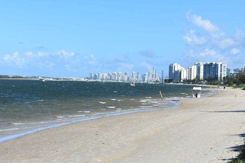 Biggera Waters beach with Surfers Paradise and Broadbeach in distance