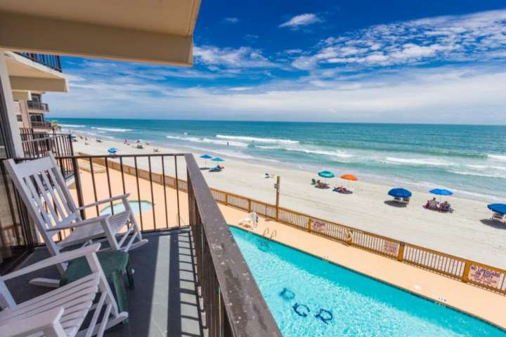 Great second floor view of the pool and beach.  This is the view you and your family will enjoy, this isn't a model unit.