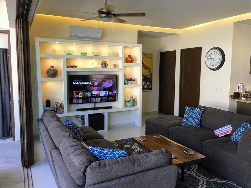 Living Room with smart TV including Netflix