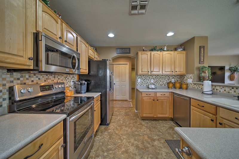 Prepare gourmet meals in the fully equipped kitchen.