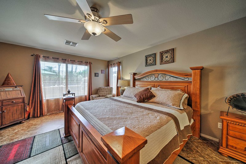 Rest your head on the comfy king bed in the master bedroom.