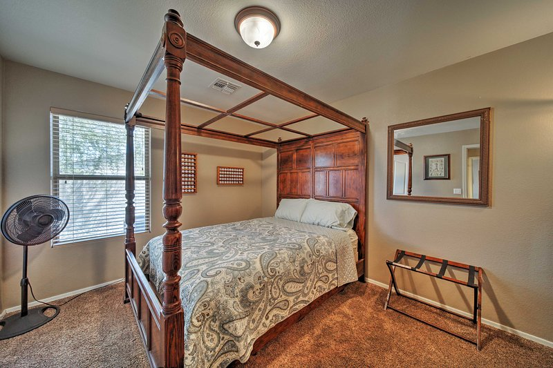 A soft queen bed can be found in the second bedroom.