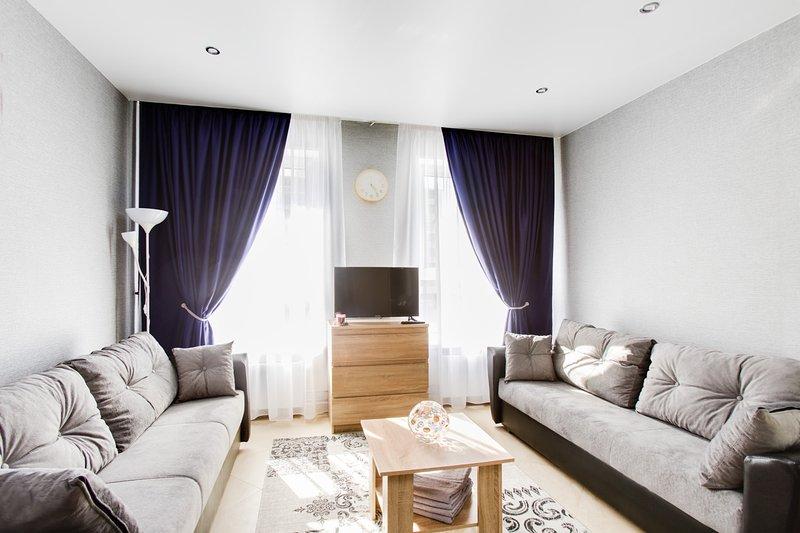 Living room, bedroom.