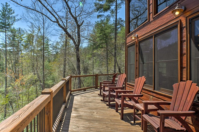 Unwind on one of the 3 decks of this expansive home, all with mountain views!