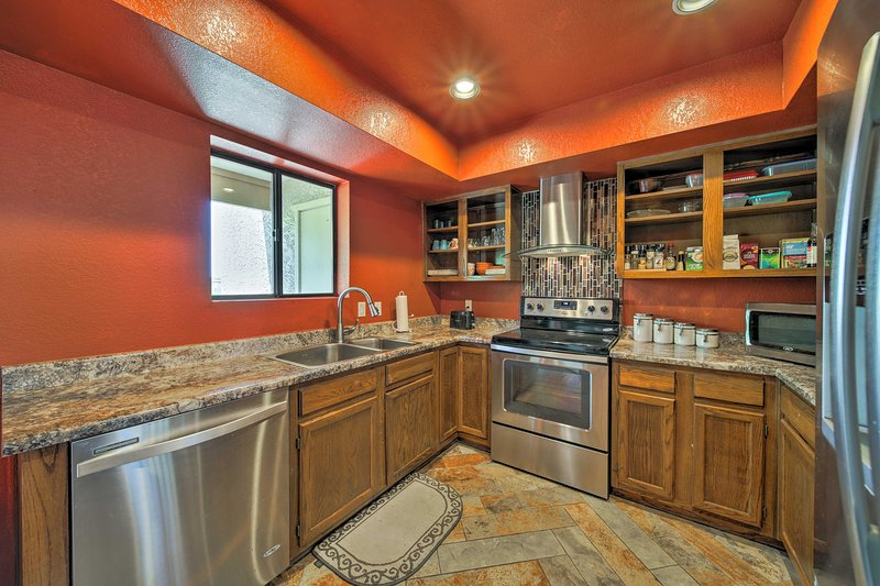 Inside, you'll find all of the comforts of home, 2 bedrooms, and 2 bathrooms.