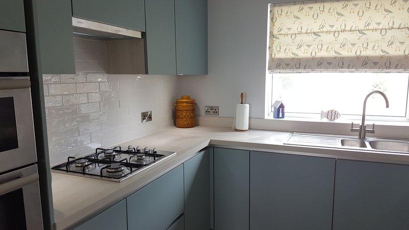 Cucina recentemente ristrutturata con piano cottura a gas, forno elettrico, frigorifero e freezer e lavastoviglie