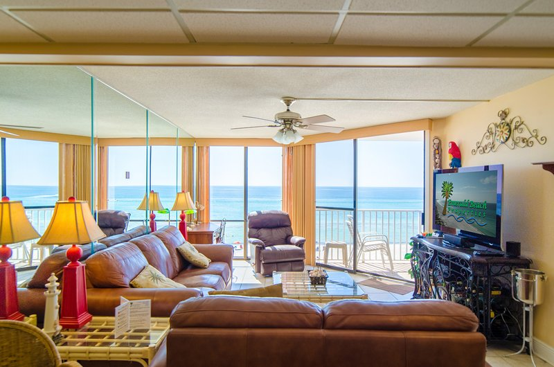 Welcome to Sandpiper Edgewater 404W, in the Windward Building of Edgewater Beach and Golf Resort. View from the living room out to the Gulf