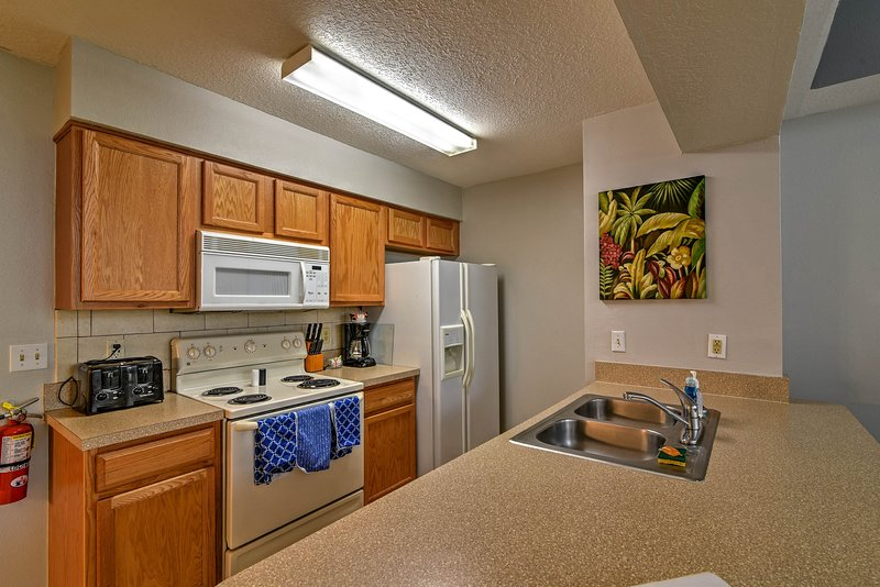 Enjoy a fully-equipped kitchen space.