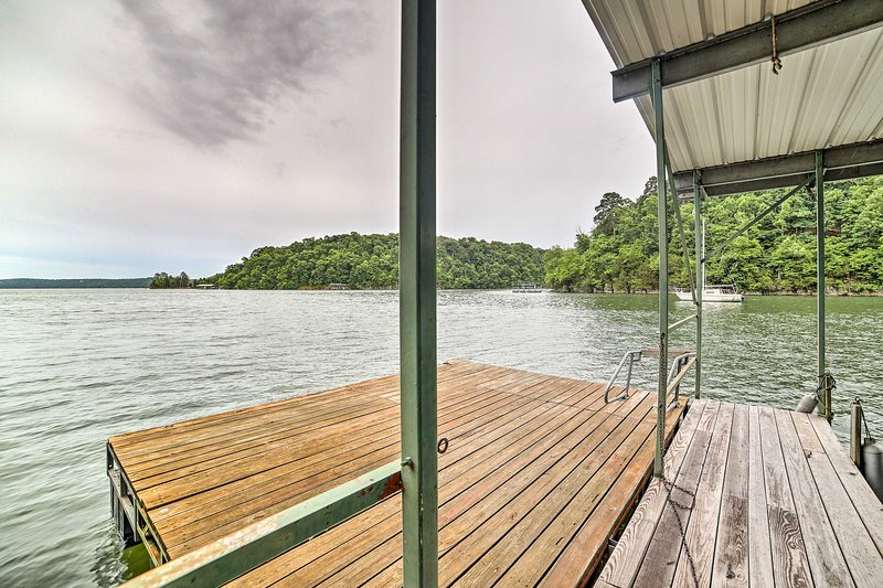 Enjoy lakefront living at the 3-bed, 2.5-bath vacation rental home.