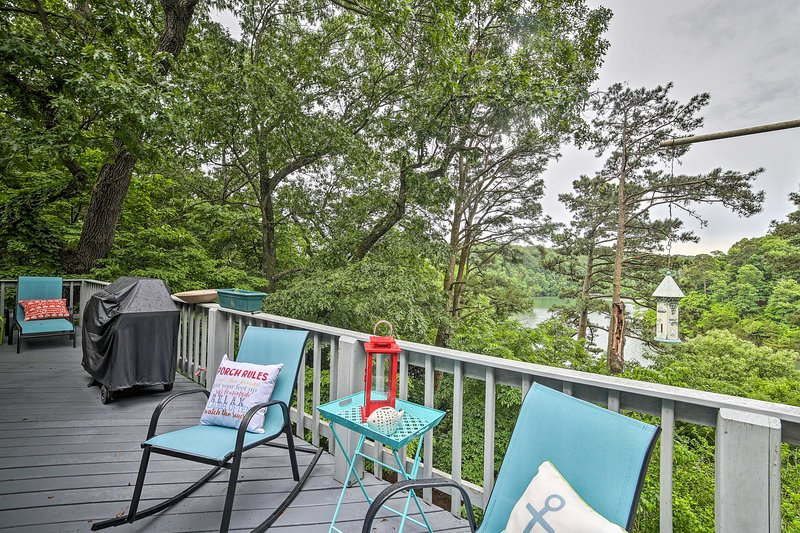 The 1,900-square-foot home has a furnished deck overlooking the water.
