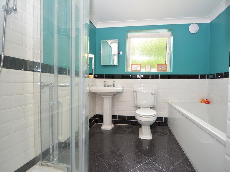 Cuarto de baño con bañera, ducha separada y WC
