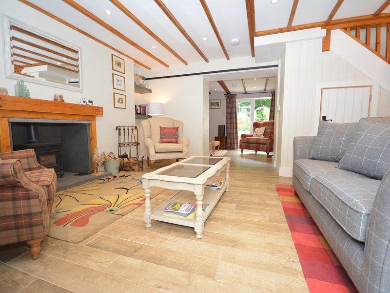acogedora sala de estar con estufa de leña calentamiento