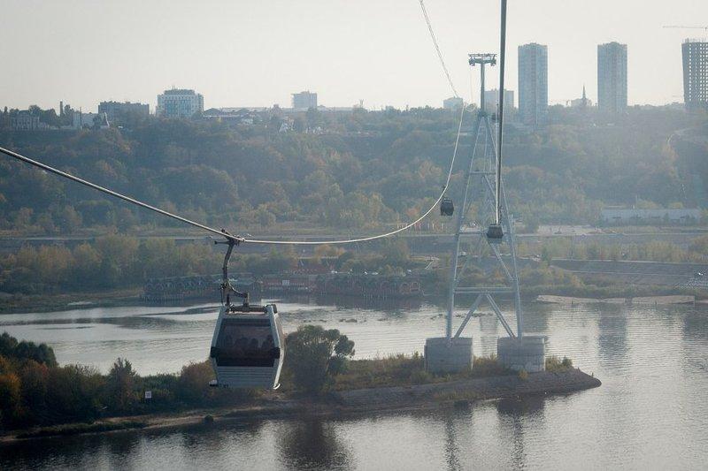 el transporte funicular desde un lado del río Volga a otro