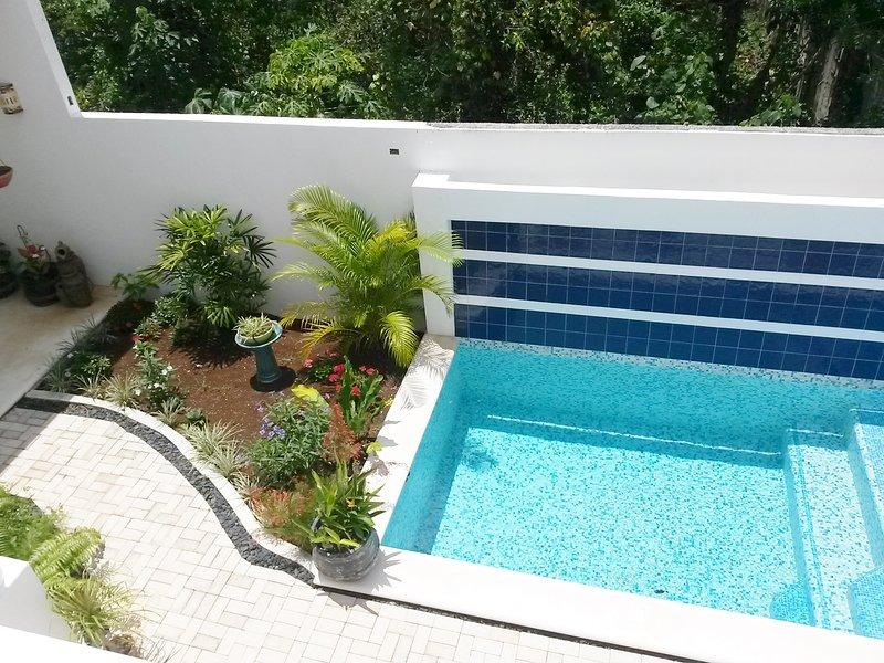 exuberantes jardins e piscina