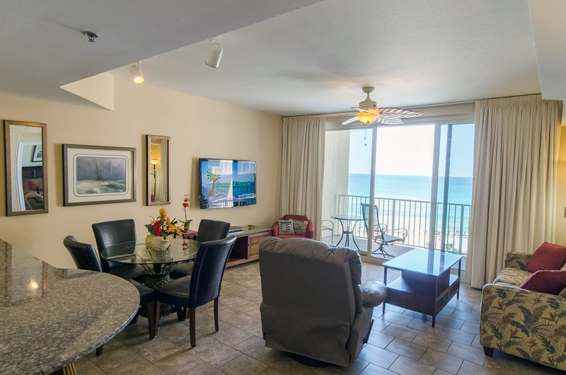 Sunset Lagoon's beautiful view of the Gulf from the Kitchen, dining, and living room!  Shores of Panama 817 in Beautiful Panama City Beach, FL!