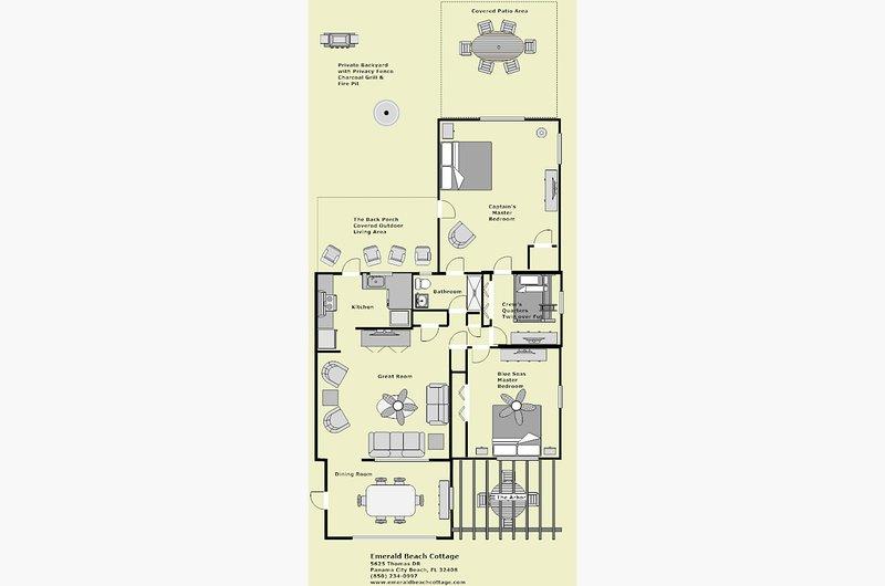 Plan d'étage, le placement des meubles est approximatif veuillez consulter nos photos pour le placement réel