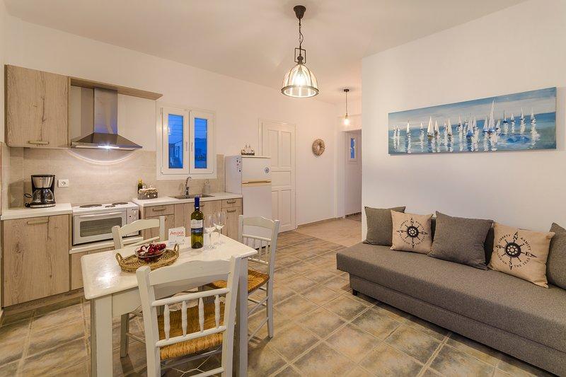 Una cocina completamente amueblada con un sofá cómodo y agradable que podría convertirse en una cama!