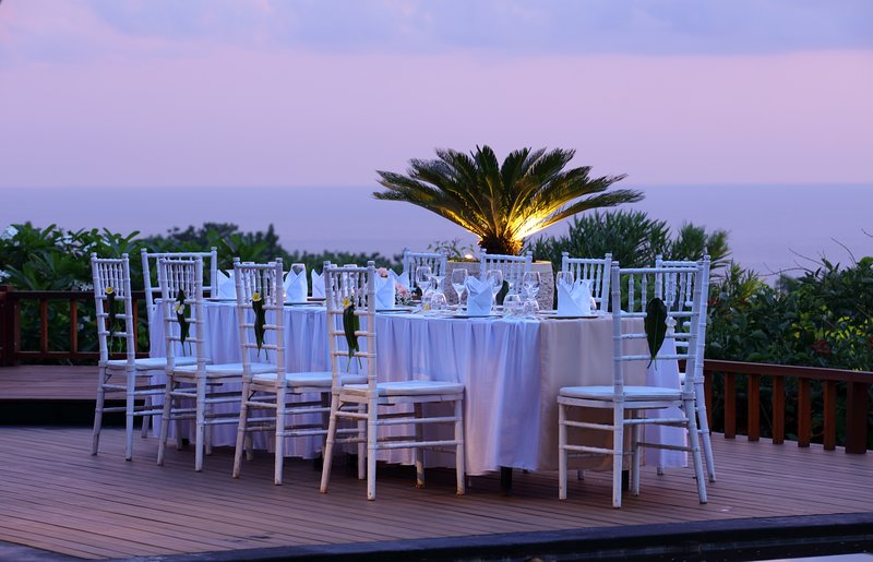 Dining Table setup for Family Private Dinner at the Pool deck