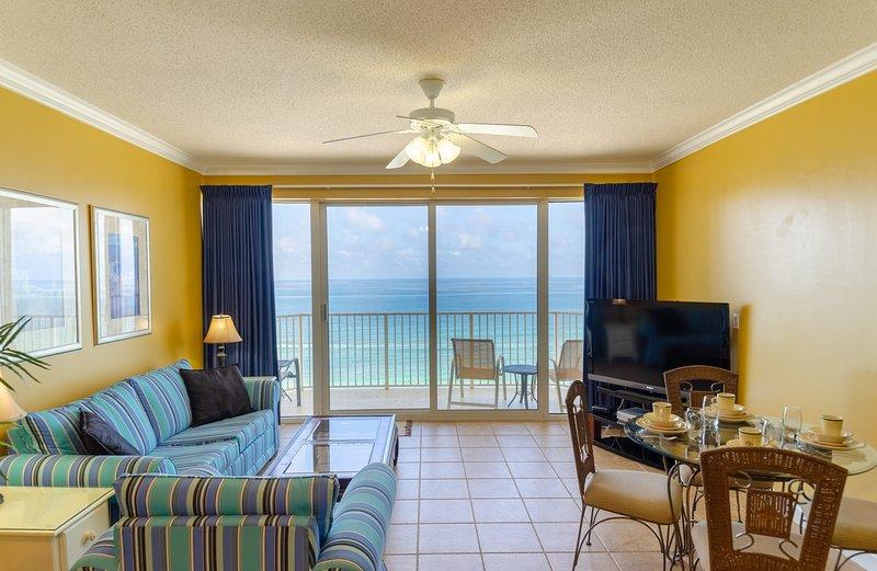 Benvenuti a Emerald Shores Escape, Boardwalk 1206 a Panama City Beach, FL! Che vista!! Grande, grande sala del Golfo con open space!