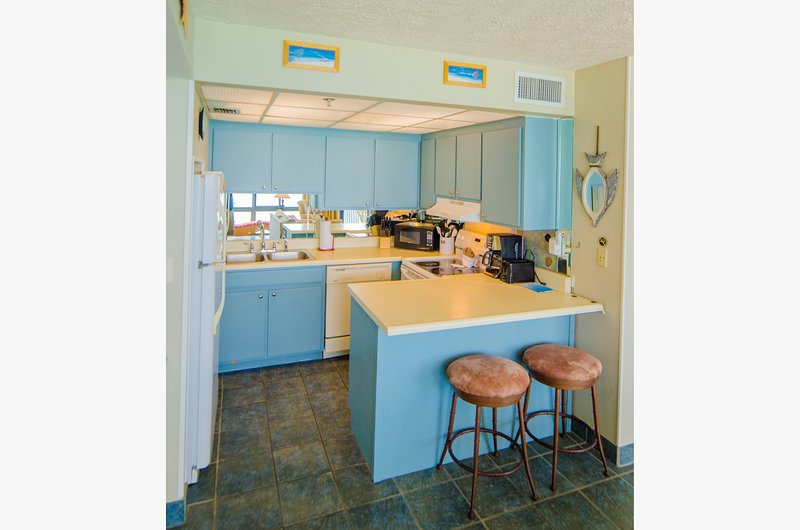Well equipped kitchen with everything you need to cook great meals! You'll enjoy the convenience of having both a Keurig machine and a drip coffee maker.