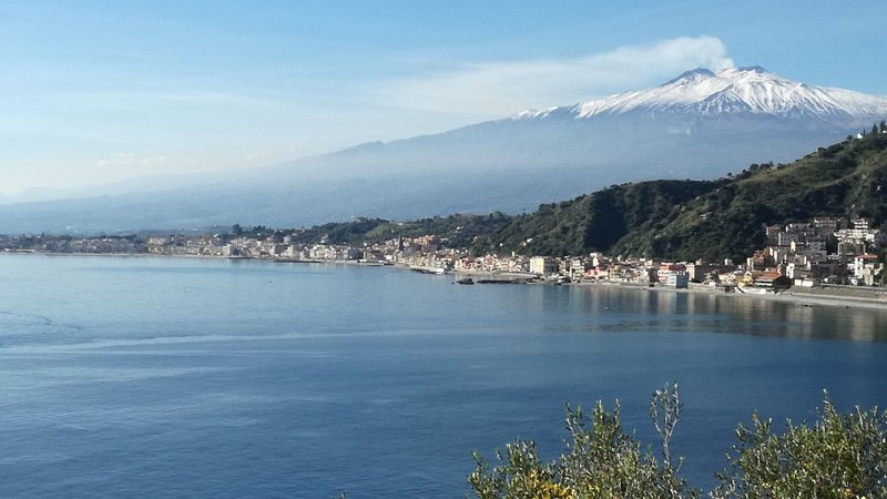 the beach with Etna view