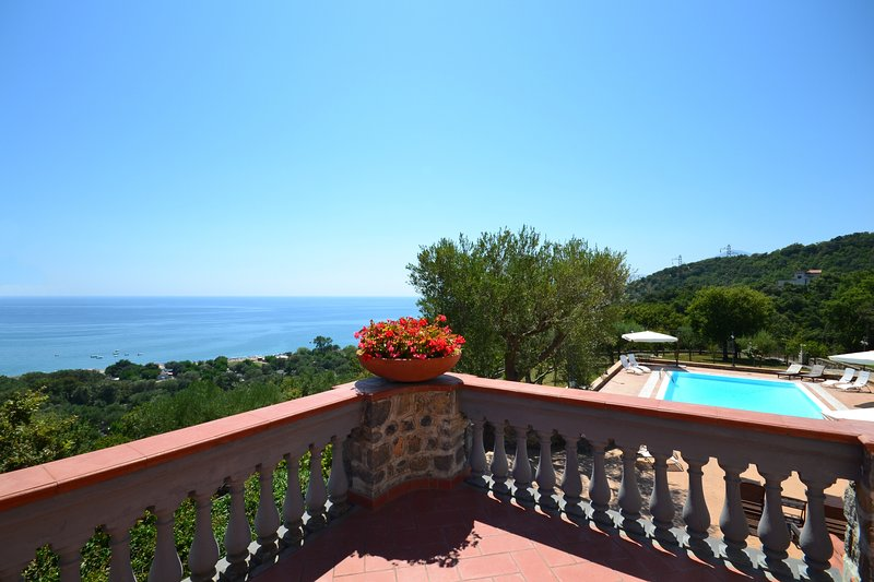 Lovely sea view large apartment in private villa with swimming pool and parking, vacation rental in Vibonati