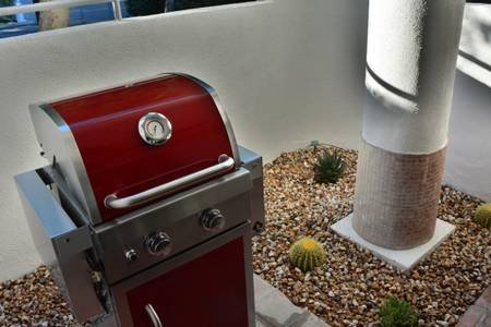Grill for BBQs with a desert garden