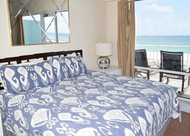 master bedroom with a large private porch and amazing gulf views.