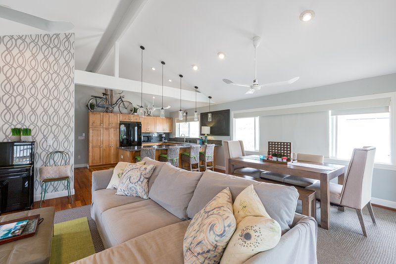 Open space living here so you can cook and enjoy time with everyone else there!