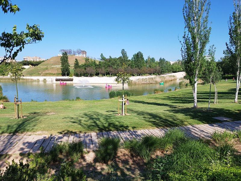 Le lac avec paddleboats, avec son restaurant et Bioparc le fond quelques minutes à pied.