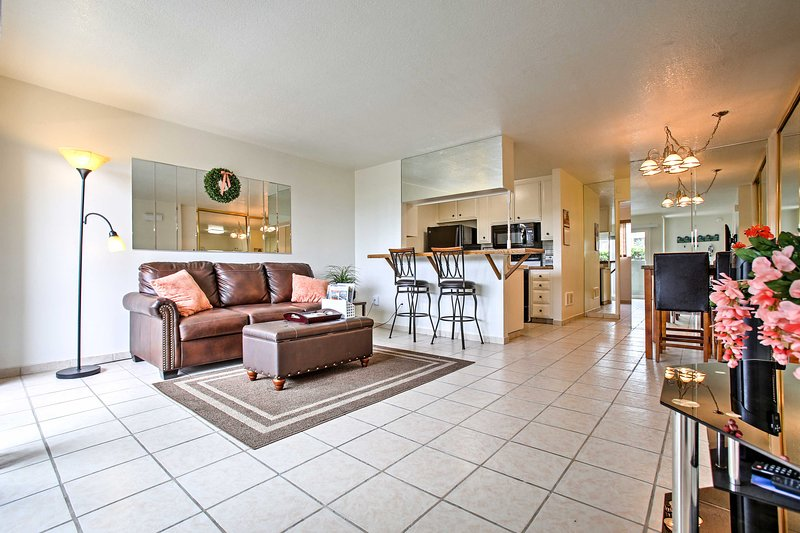 Elevate your escape at this 1-BR, 1-bath Oceanside vacation rental condo for 4.