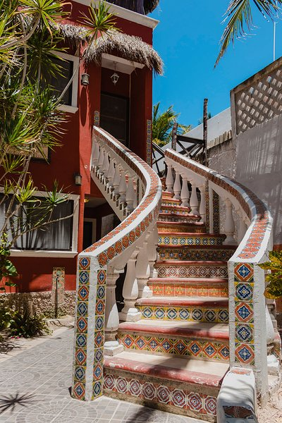 Talavera staircase to the penthouse