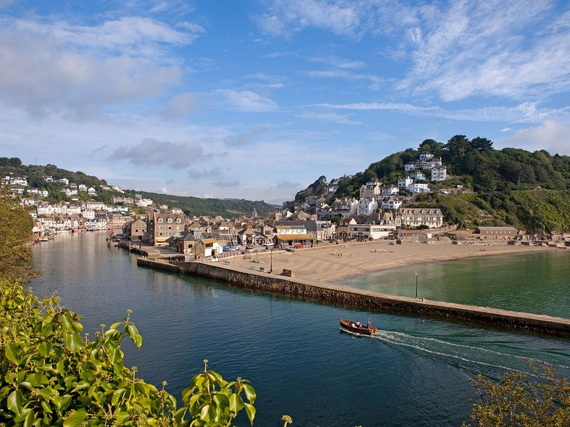 Looe harbour and beach nearby