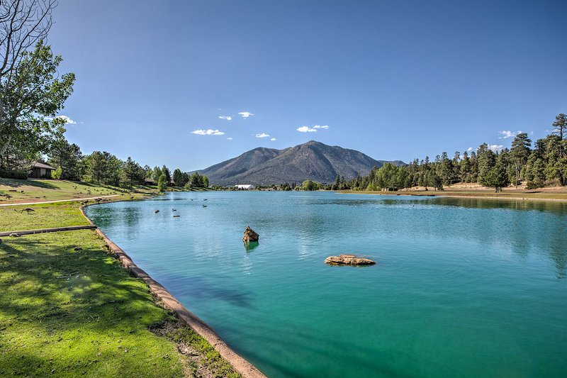 Gaze out at the scenic mountains of Flagstaff from Duck Lake.