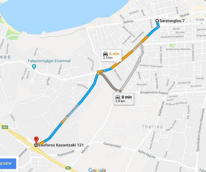 mapa para acceder a la autopista. 5min -2,5 km