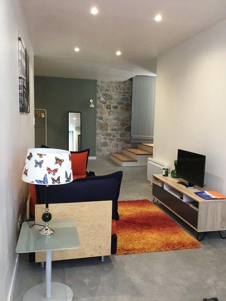 Le sommeil studio sont. À gauche, cuisine et salle de bain à droite