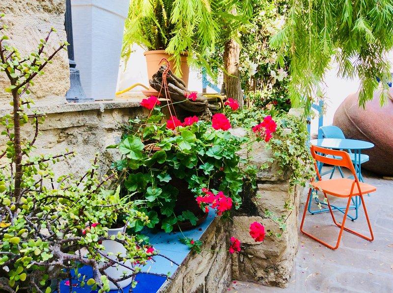relaxing courtyard gardens at Iaso Suite. Dalla's Cyprus Retreat, Maroni Village, Larnaca Cyprus.