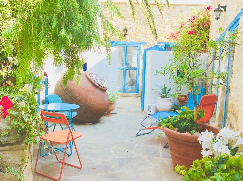 Relaxing courtyard gardens at Iaso Suite, Dalla's Cyprus Retreat, Maroni Village, Larnaca Cy.