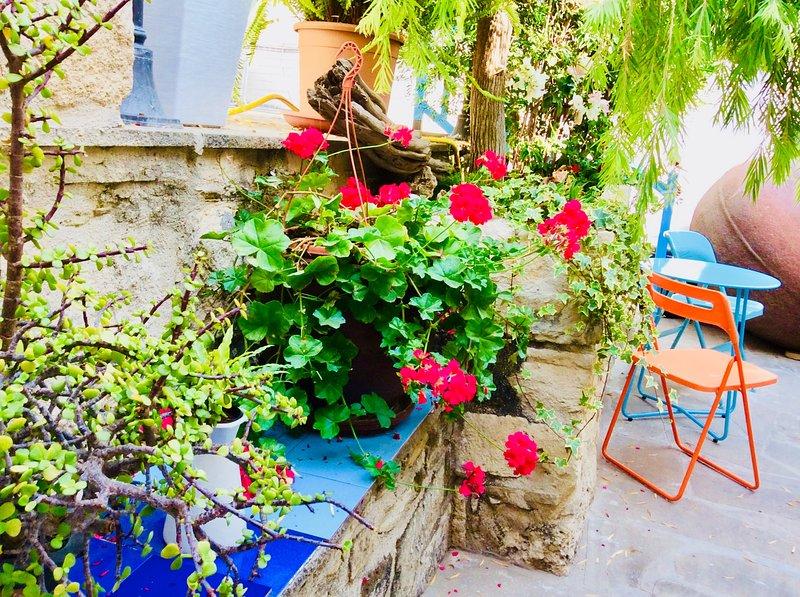 Relaxing courtyard gardens at Iaso Suite Dalla's Cyprus Retreat, Maroni Village, Larnaca Cyprus