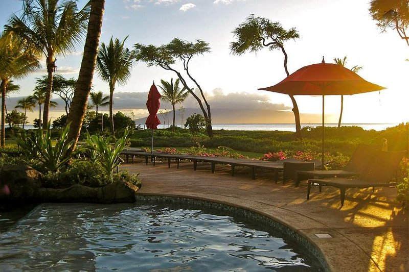 Sit right at the pool and enjoy the gorgeous sunsets nightly
