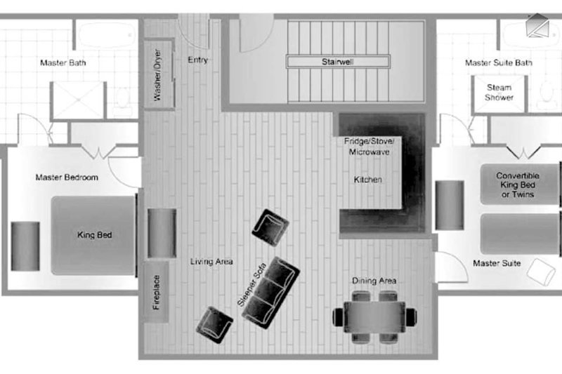 An example of a sample floor plan at the River Club. Units vary a bit in floorplan, but are identical in decor.