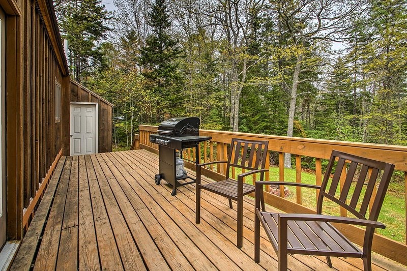 This cabin home sleeps up to 8 and boasts a great deck and backyard.