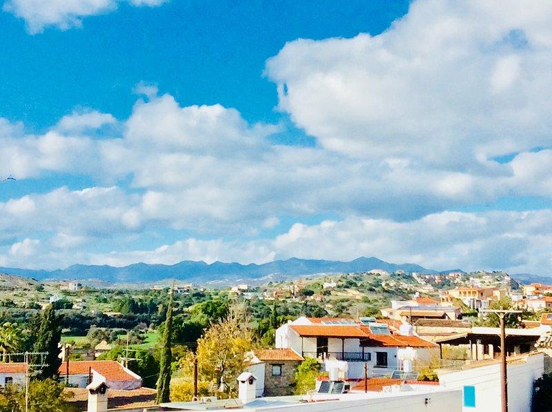 Blue sky of Maroni village. Dalla's Cyprus Retreat, Maroni village, Larnaca district, Cyprus.