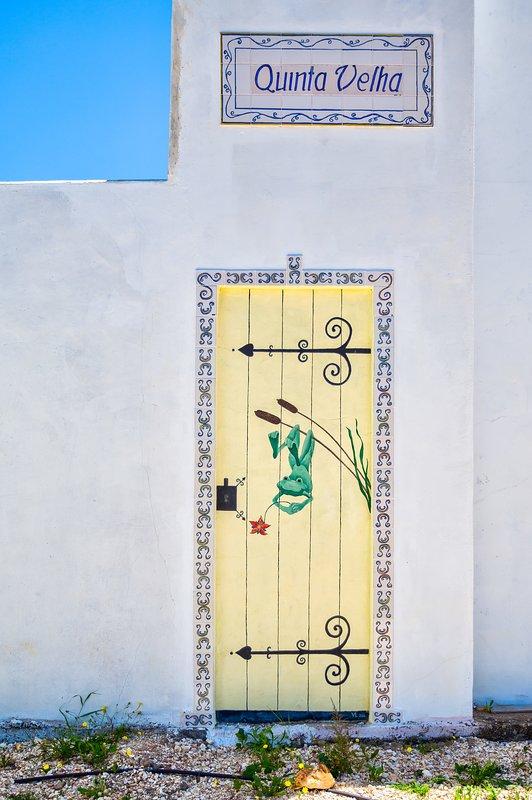 trompe l'oeil - kikker afbeelding op de muur - was een deur