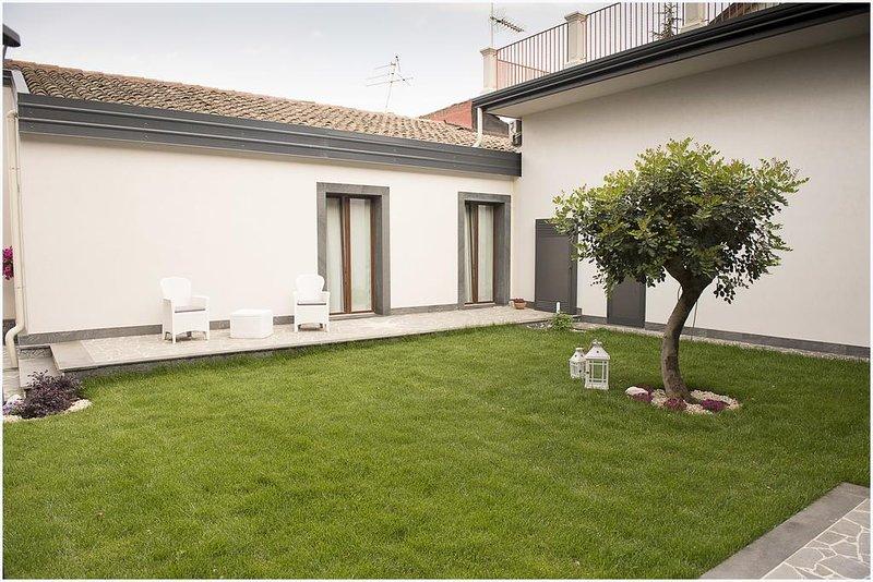 área de relaxamento com gramado