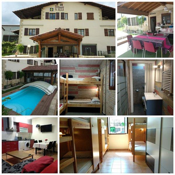 Hostel 10 couchages 2 chambres 2 salles de bains séjour cusine salle couverte jardin terrasse avec piscine