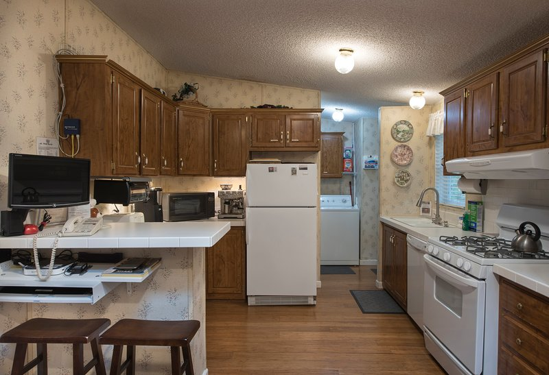 Kitchen with Gas Stove, Dishwasher, Microwave, Coffee Maker