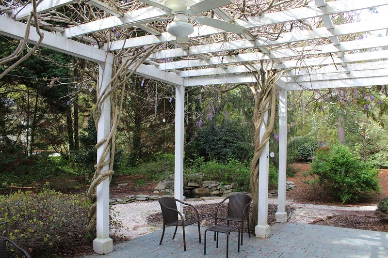 Backyard patio, enjoy outdoor seating and the grill